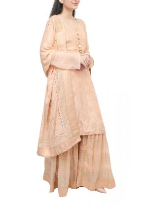 3 Piece Beige semistitched suit by Begum's