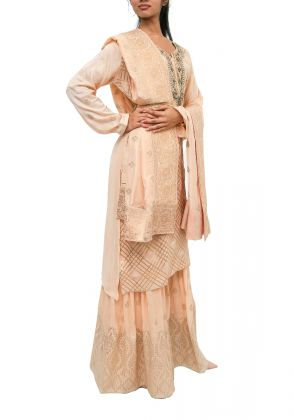 3 Piece Cream semistitched suit by Begum's