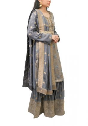 3 Piece Grey semistitched suit by Begum's