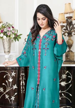 Teal Embroidered Shirt by A La Pakistan