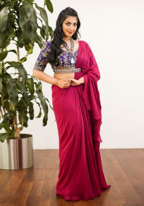 Purple And Plum Concept Stitched Saree by Amaayaa The Label