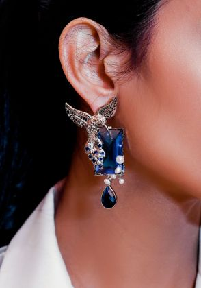 Aquamarine Fantasy - Fresh Water Pearls and Sapphire Topaz Earrings in Sterling Silver by Esfir