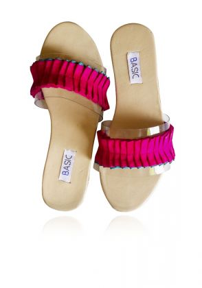 Pink Frill Slides by Basic by Chapter13