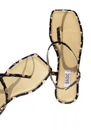 Black Printed Sleek Summer Sandals by Basic by Chapter13
