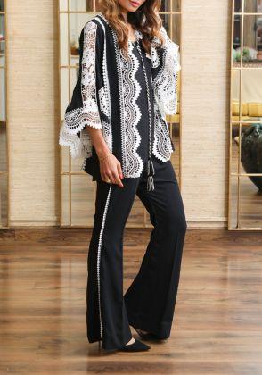 Black And White Lace Jacket Set by Farida Hasan