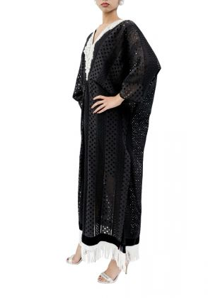 Black Chicken Lace Kaftan by MESH by Ayesha Ghani