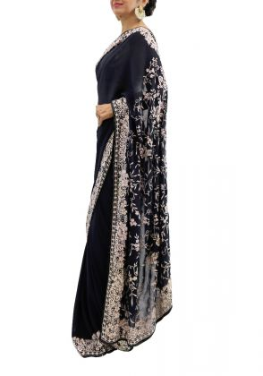 Black Gara Embroidered Saree