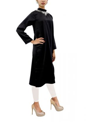 Black Satin Silk Tunic by Shen