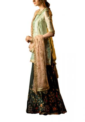 Blush Pink Dupatta with Mint Green Shirt Paird Dark Green Sharara by Fatima Ashar