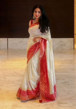 Ivory And Red Zari Saree by Boulevard One Designs
