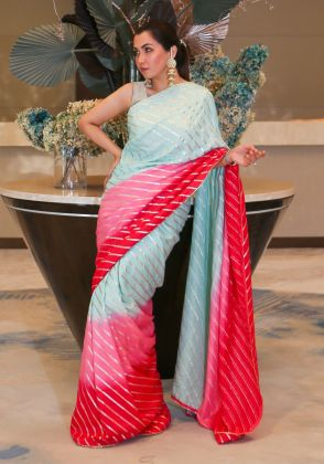 Embellished Ombre Saree by Boulevard One Designs