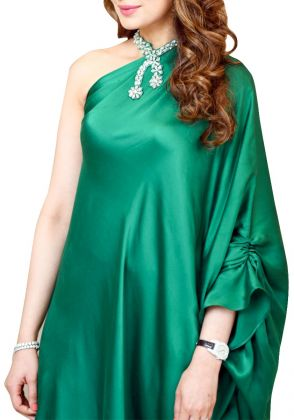Bottle Green Shamose Kaftan by A La Pakistan