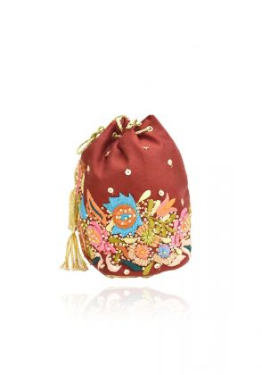 Red Velvet Potli Bag by Chapter 13