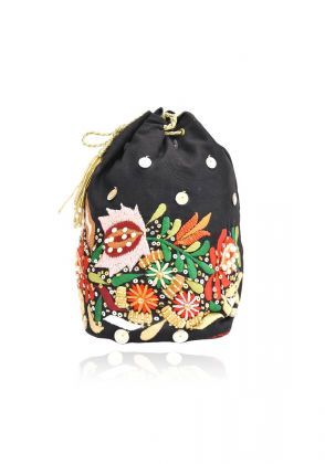 Black Raw Silk Potli Bag by Chapter 13
