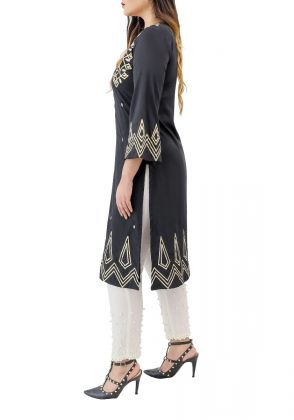 Cleo - Bell Sleeves Kurta with Gota Embroidery by Eziz
