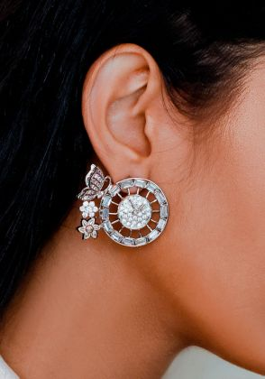 Clockwork-Silver Earrings with Rosequartz and Baguette Cut Zircons by Esfir