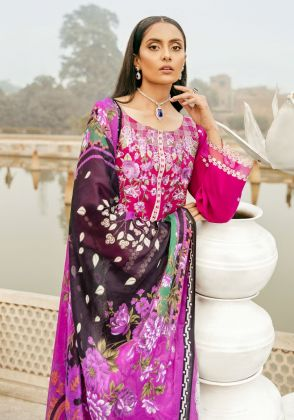 Fuschia Embroidered Unstitched Suit  by Panachē Luxury Lawn