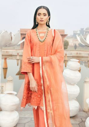 Orange Embroidered Unstitched Suit  by Panachē Luxury Lawn