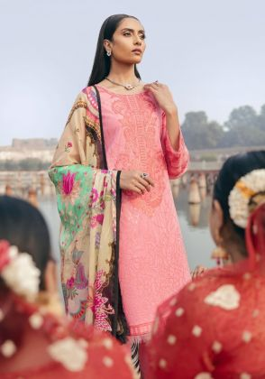 Rose Pink Embroidered Unstitched Suit  by Panachē Luxury Lawn