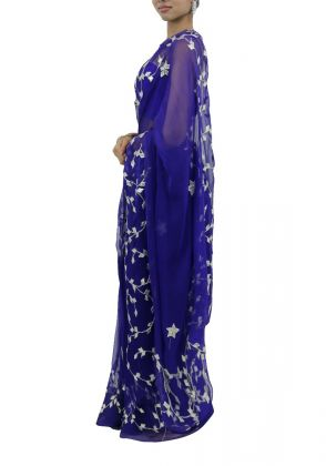 Dark Blue Saree by Boulevard One Designs