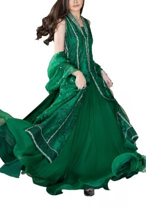 Embroidered Silk Gown by Farida Hasan