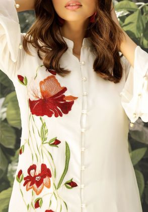 Flora-Front open white tunic with needlework embroidery on one panel (tunic only) by Natasha Kamal
