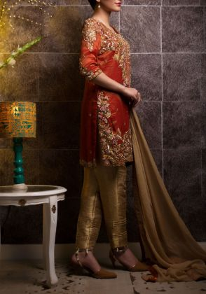 Floral Embroidery Straight Shirt by Zohaib Qadeer