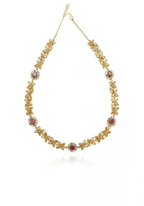 Pink Gold Kundun Malla Necklace by Gorgeous Jew