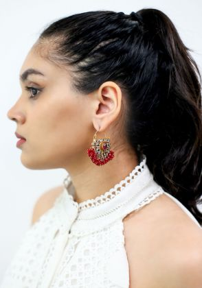 Red Beads Gold Earrings by Gorgeous Jew