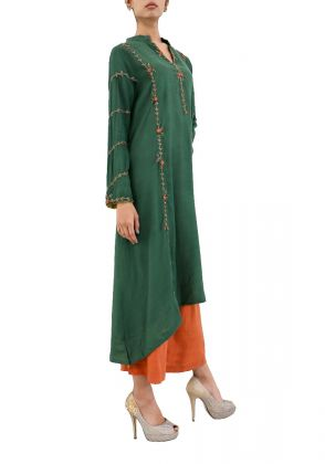 Green Raw Silk Shirt With Culottes by Shen