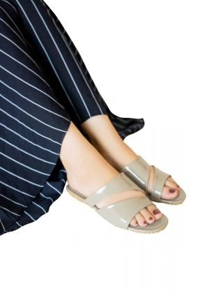 Grey patent cut out slippers by Basic by Chapter13