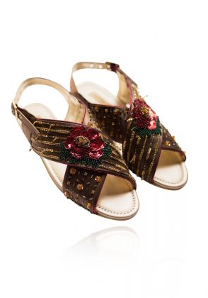 Gulabo Revamped-Red Rose Flower Sandals by Chapter 13