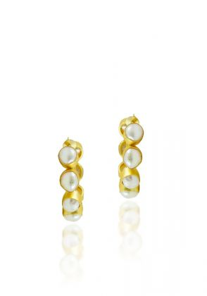 Half Pearl Hoops by Amara