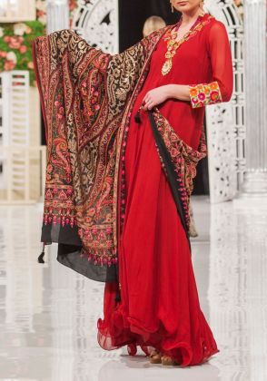 Heavy Embroidered Red Shawl by Dareaab