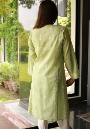 Green White Booti Shirt by Indus Heritage Trust