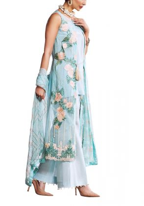 Light Blue With Flower Embroidery Unstitched Suit by Iqra Reza