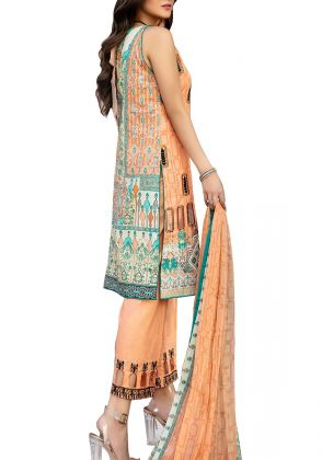 Orange Unstitched Lawn Suit by Iqra Reza