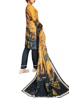 Mustard and Green Unstitched Linen Suit by Iqra Reza