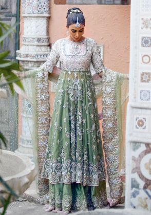 Green 3 Pc Gown Set by Ivy Couture