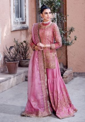 Rose Pink Sharara Set by Ivy Couture