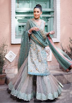 Turquoise Sharara Set by Ivy Couture