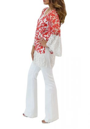 Kashida Tunic - Red & White by Sana Sheikh