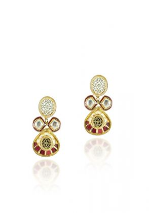 Kundan Earrings - Red by Hina Zafar
