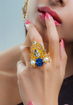 Lapis Crown Ring by Rema Luxe