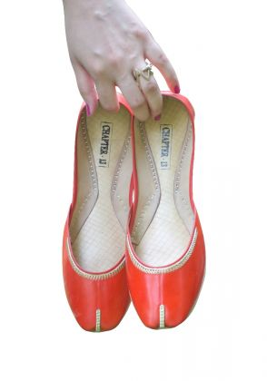 Leather Khussa in Orange by Chapter 13