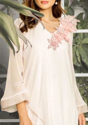 Lily-Pink Tunic with 3D Floral Neckline (two piece set) by Natasha Kamal