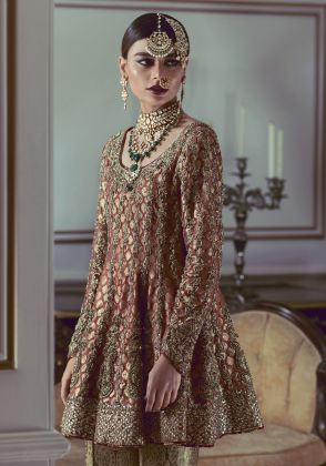 Rust Heavy Embroidered Peplum Tunic with Pants by Maheen Karim