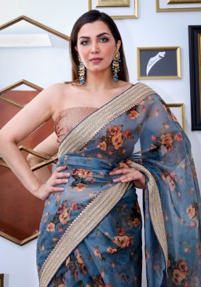 Grey Floral Saree by Nergisse n Veera