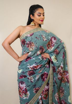 Powder Blue Floral Saree by Nergisse n Veera
