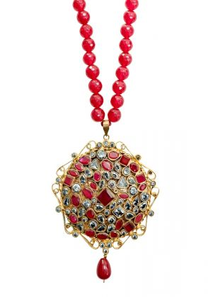 Red Semi Precious Stone Necklace by Gorgeous Jew